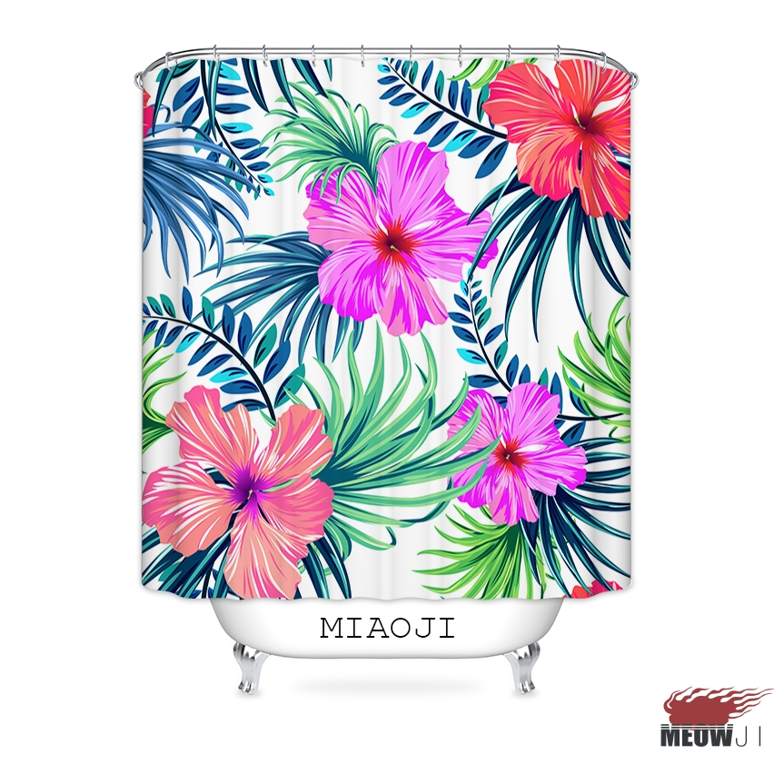 MIAOJI] Tropical Hawaii Flowers Leaves Vivid Color Shower Curtain ...