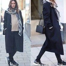 Autumn and winter new women's coat Lapel women's long coat wool coat ladies thick woolen coat notch lapel patch pocket back vent woolen coat