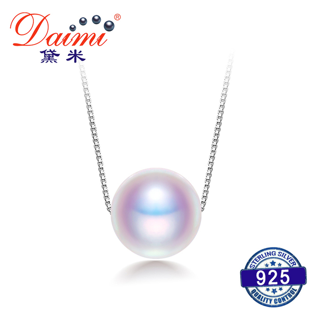 DAIMI Pearl Necklace, 925 Sterling Silver Chain Cultured Pearl Simple Necklace,