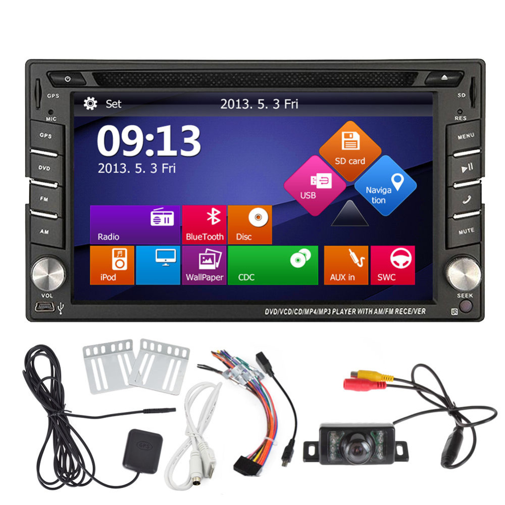 Free Rearview Camera+Touch Screen 2 Din Car cd DVD Player GPS Navigation Car Stereo In Dash auto Radio Supports Bluetooth iPod 2 din car radio mp5 player universal 7 inch hd bt usb tf fm aux input multimedia radio entertainment with rear view camera