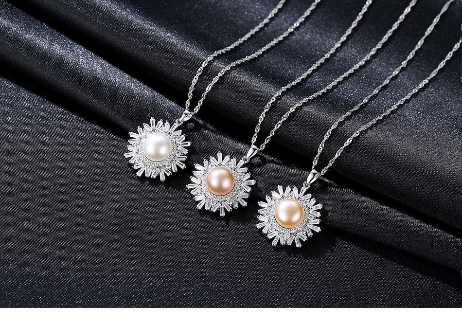 S925 sterling silver necklace snowflake pendant freshwater pearl boutique jewelry pendant female gift CS54