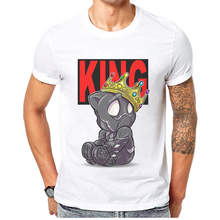 купить Men's Clothing Funny Black Panther King Printed  Men T Shirt O-Neck 100% Cotton Short Sleeve T-Shirt Personality Mens Tops Tee дешево