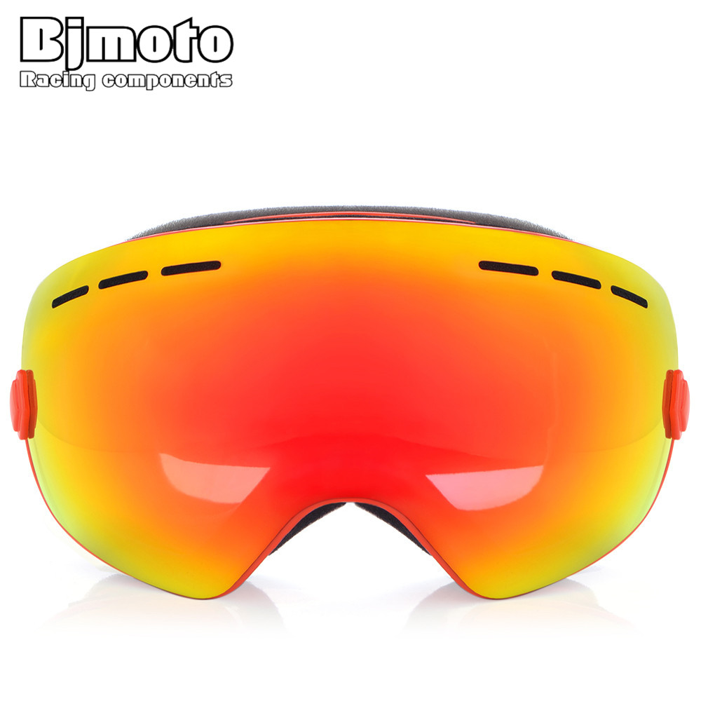 BJMOTO Adult Motorcycle Flexible Sking Goggles Double lens 3 Layer Foam UV 400 Anti-fog Skiing Snowboard Glasses Mask