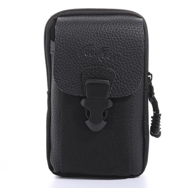 2019 new Korean fashion outdoor phone men waist bag High Quality PU leather nylon coin purse zipper Large Capacity