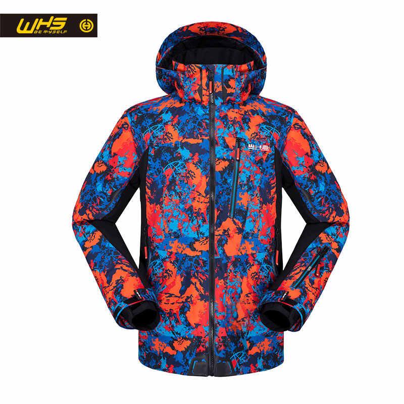 WHS 男性屋外スキージャケット防風暖かいコートファッション印刷男性ジャケット防風と防水