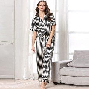 Image 4 - Fiklyc ropa interior de manga corta para mujer, juego de pijama de satén, pantalones largos, hermoso uso en interiores