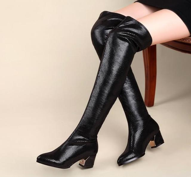 15228e7a2414 Spring Autumn Women Stretch Leather Thick Mid Heel Pointed Toe Over The Knee  Boots Fashion Sexy Lady Thigh High Boots Size 40