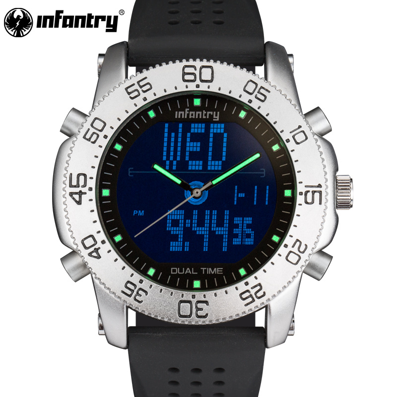 INFANTRY Sport Watch LED Digital Wristwatch Mens Watches Top Brand Luxury Military Army Fashion Black Silicone Relogio Masculino