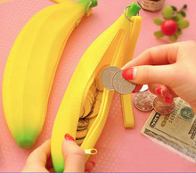 cute coin wallet kids purse  toddler yellow banana student silicone funny change zipper pouch