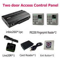 Inbio260 duas portas de impressão digital e acesso ao cartão de leitor de cartão de Id da placa de controle com FR2200 Keyapd escravo leitor de impressões digitais Teclados de controle de acesso     -