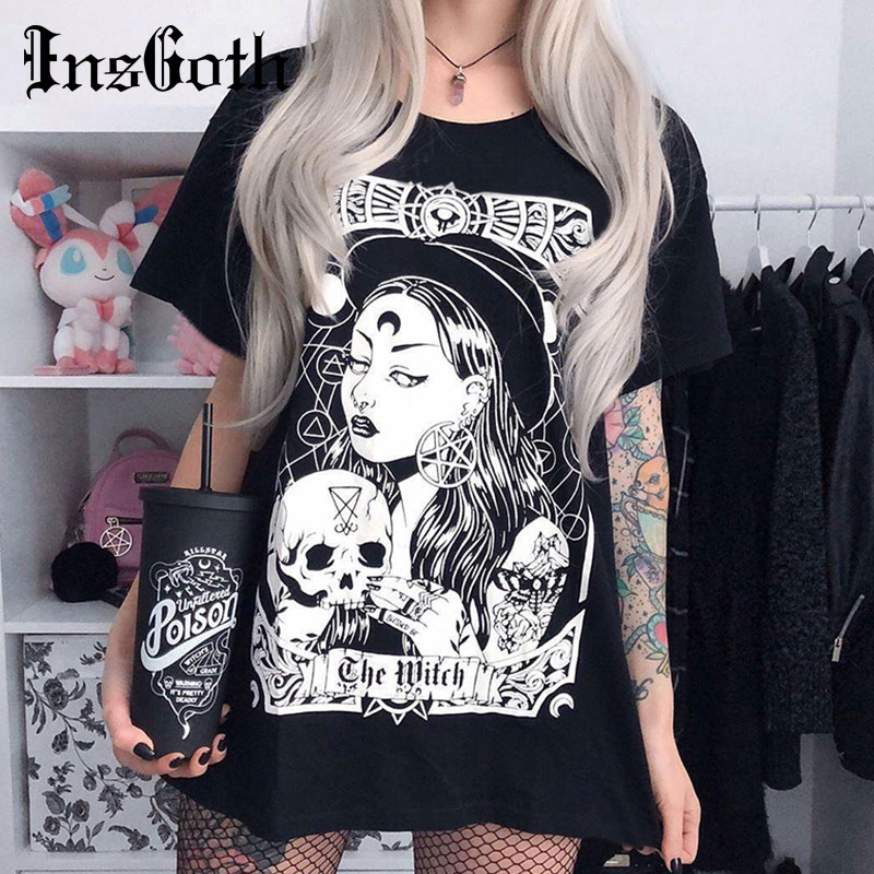 InsGoth Women Harajuku Black Loose T-shirt Gothic Witch Printed Grunge Streetwear Female Loose T-shirt Fashion Aesthetic T Shirt
