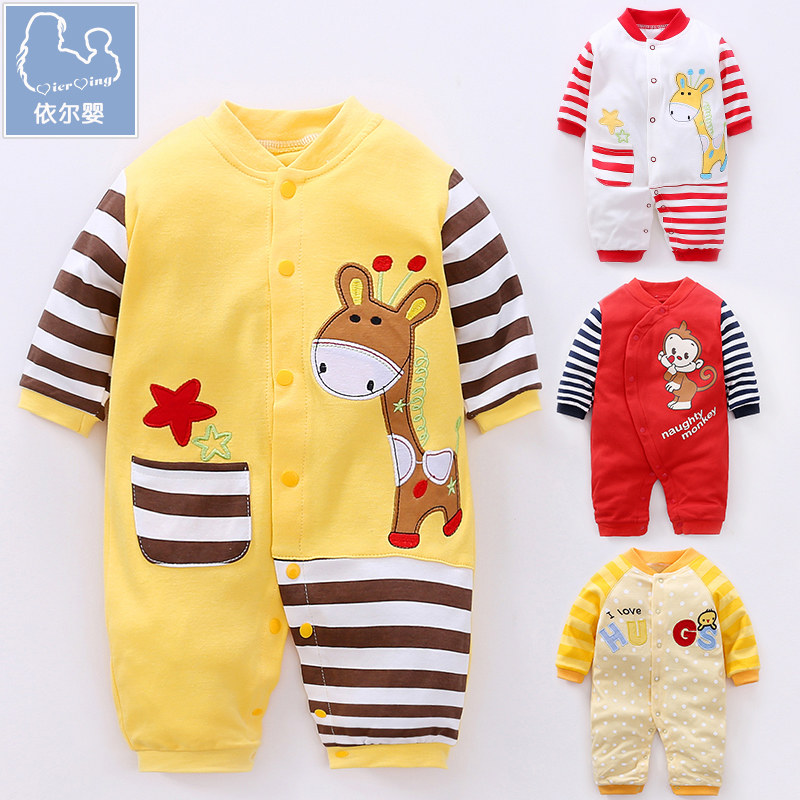 YiErYing Newborn Baby Clothes 2018 New Spring Long Sleeve Cotton Cartoon Animal Print Infant jumpsuits Baby Boy Girl Romper cotton baby rompers set newborn clothes baby clothing boys girls cartoon jumpsuits long sleeve overalls coveralls autumn winter