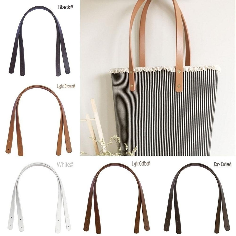 Pair 24 inchCanvas Sewing PU Leather Bag Straps With Leather Tabs,Fake Leather Handbag Handles,Shoulder Bag Handle Punch Hole Ready kz0307