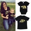 2017 marca negro oso verano Familia Set Mameluco Recién Nacido de Los Bebés adultos mama T-shirt Tops Trajes Ropa