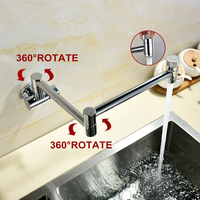 Free Shipping 360 Degrees Rotatable Double Switch Swinging Spout From Kitchen Sink Taps Wall Mounted Kitchen