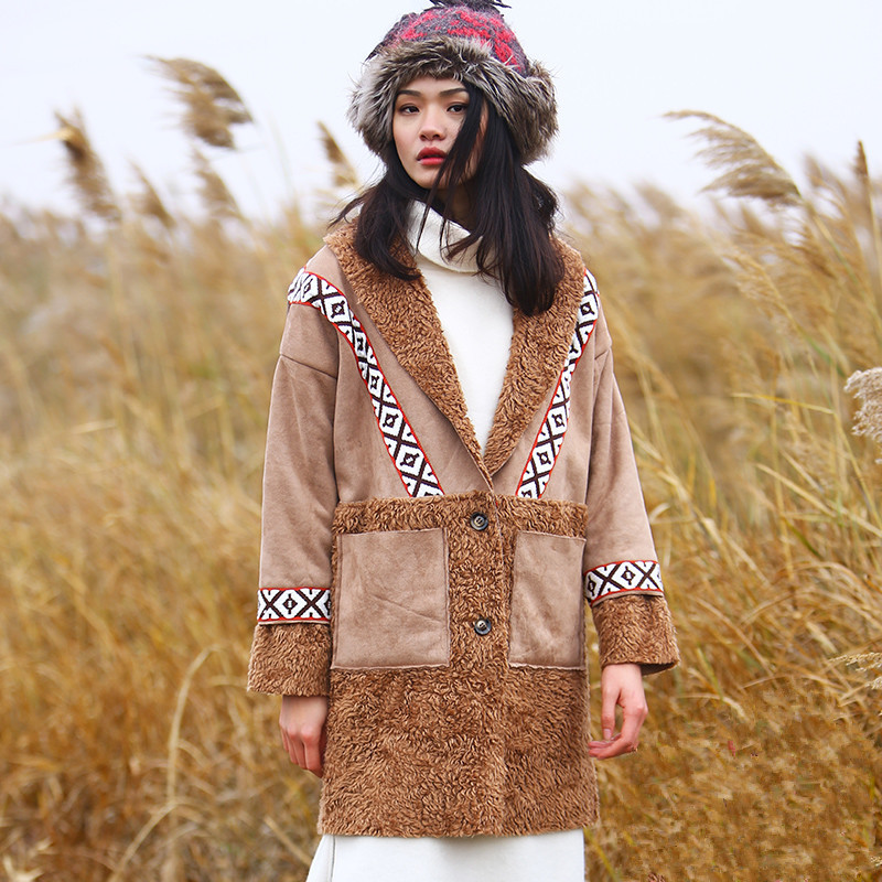 Jessica's Store New Winter Women Indie Folk Casual Loose Embroidery Personality Suede Patchwork Long Warm Wadded Jacket велосипед forward indie folk 1 0 18 2017 white