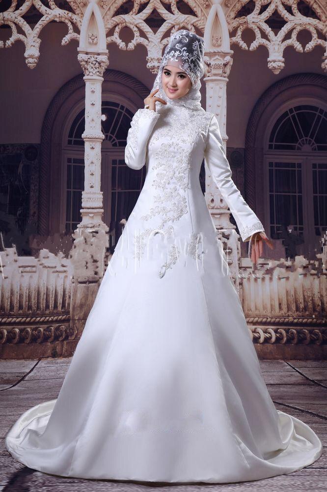 Muslim Long Sleeve Lace Appliques Sain A line Wedding Dresses Elegant Arabic font b Hijab b
