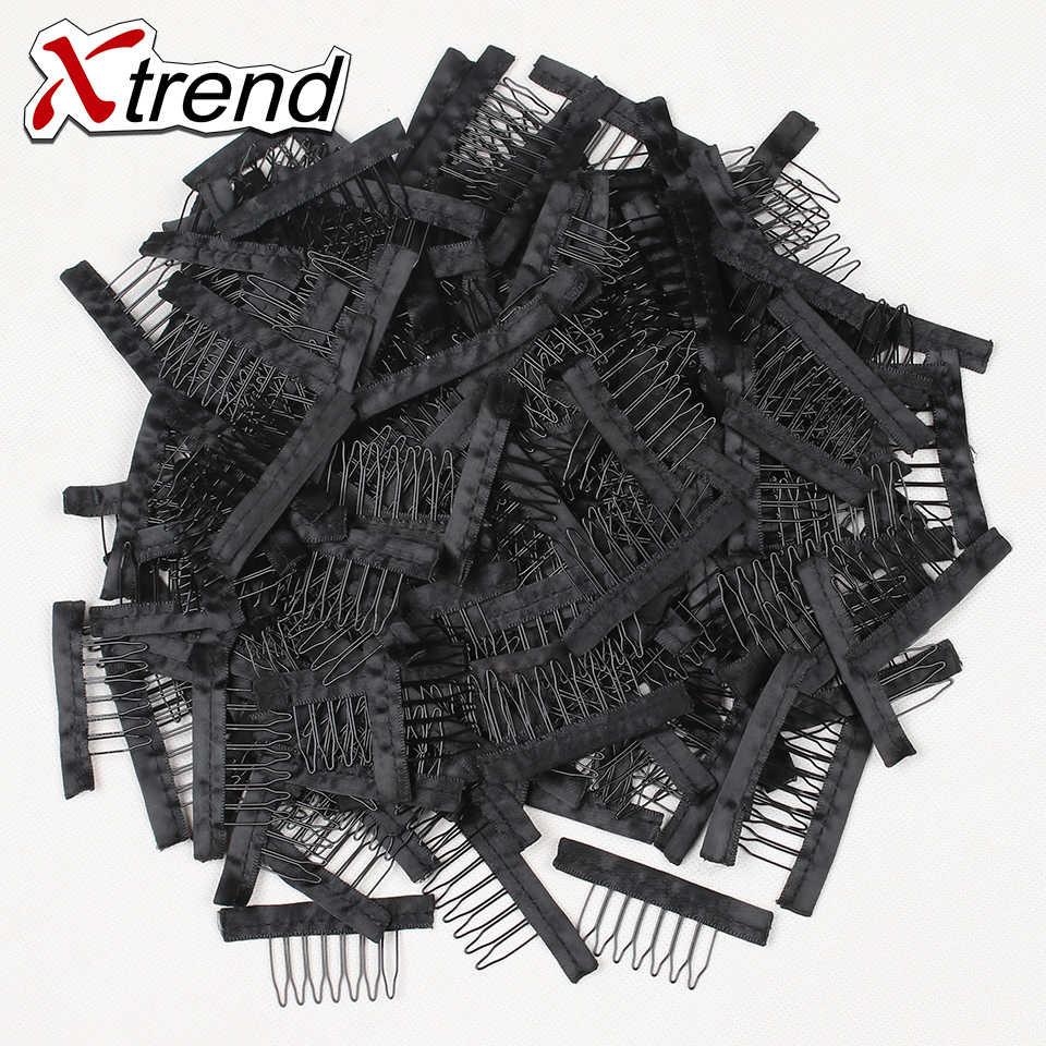 Xtrend новый черный кружевной парик зажимы стальной зуб полиэстер прочная ткань парик расчески для волос шапки парик аксессуары инструменты 10-500 шт