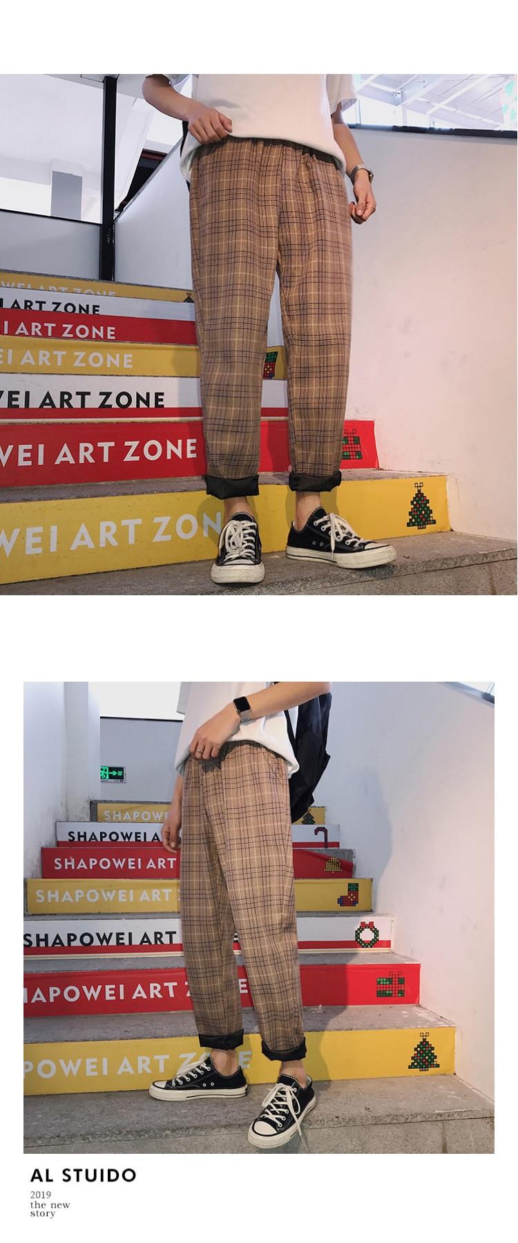 LAPPSTER Streetwear Yellow Plaid Pants Men Joggers 2019 Man Casual Straight Harem Pants Men Korean Hip Hop Track Pants Plus Size