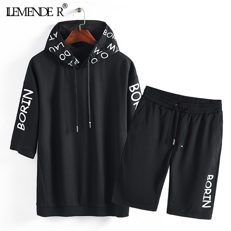 Summer Hoodie Sportsuits Mens Shorts Sets Breathable Two Piece Loose Set Mens Design Fas ...