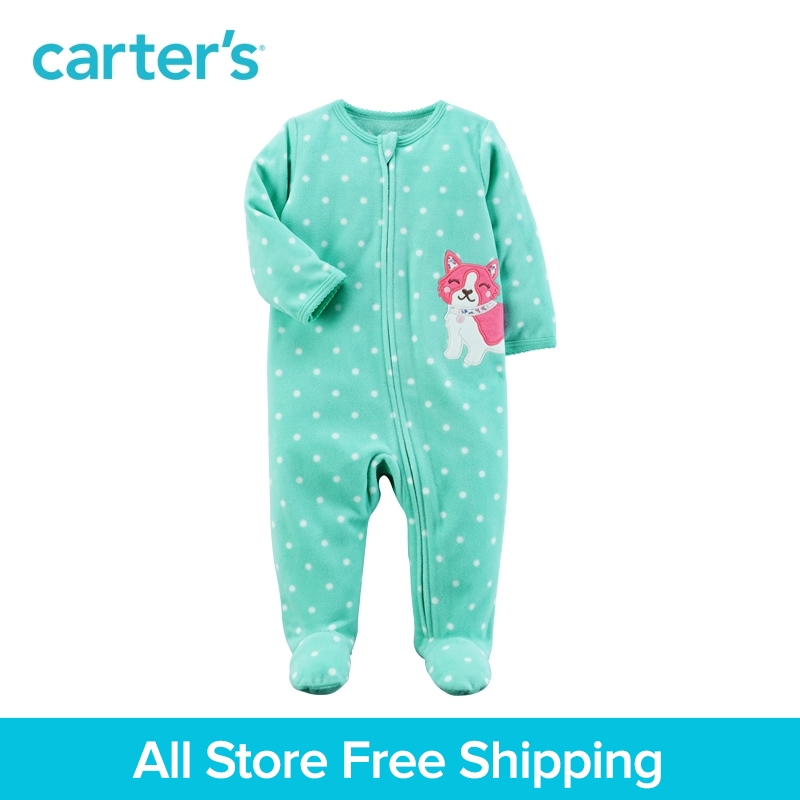 Carter's 1-Piece baby children kids clothing Girl Sping Fall Fox Zip-Up Fleece Sleep & Play 115G407