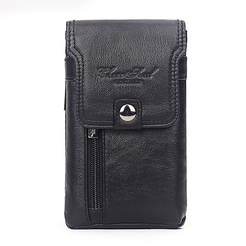 Men's Cell Phone Case Cigarette Waist Bag Cowhide Purse Cover Skin Hook Bum Pouch Casual Genuine Leather Belt Hip Fanny Pack