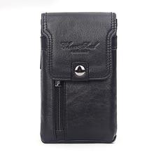 Men's Cell Phone Case Cigarette Waist Bag Cowhide Purse Cover Skin Hook Bum Pouch Casual Genuine Leather Belt Hip Fanny Pack