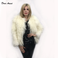 Fashion Real Mongolian Sheep Fur White Fur Coat For Lady Winter Furry Warm Wide Waisted Plus