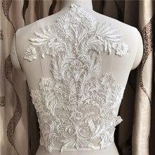 1Piece Large Lace Applique Neckline Collar Appliques Embroidery Car Bone Lace Accessories For Bridal Dress 41x28cm