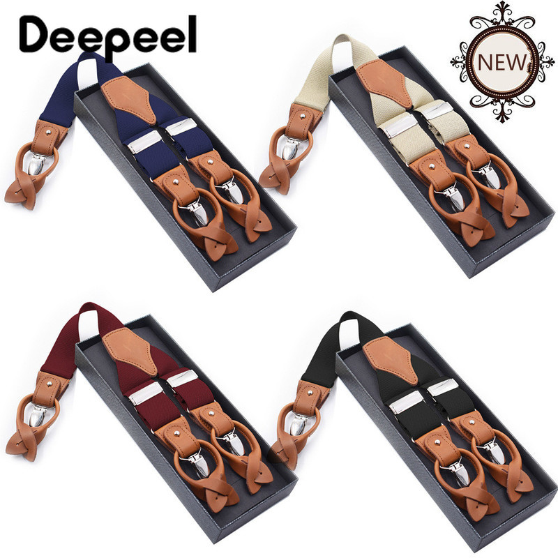 Deepeel 1pc 3.5*125cm Fashion Leather Men's Dual Use 6 Clips Suspenders Genuine Leather Casual Sling Shirt Holder Suit Bretels