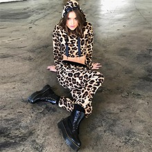 Fashion 2019 New Brand women spring autumn Two piece clothing tracksuit sets Leopard hooded Crop top and pants set