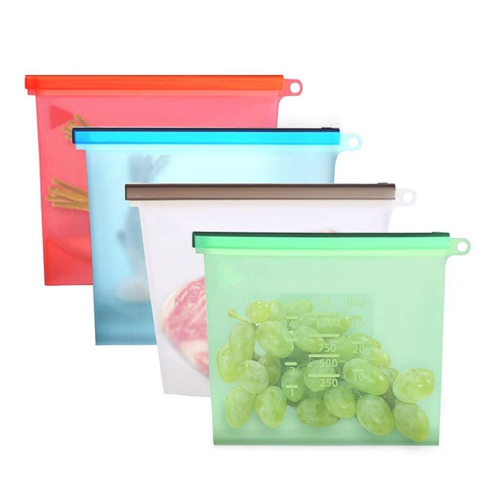 4pcs/set Reusable Airtight Seal Food Preservation Bags Vacuum Sealer Milk Meat Fresh Storage Bag Containers Refrigerat