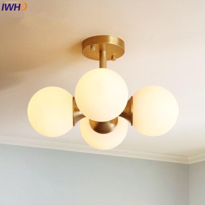 IWHD современный скандинавский светодиодный потолочный светильник из латуни и меди, потолочный светильник со стеклянным абажуром, светильни