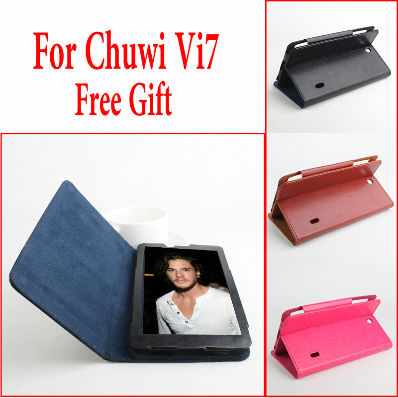 Fashion Ultra Thin PU Flip Leather Case Cover For Chuwi Vi7 Protective tablet Shell + Gift