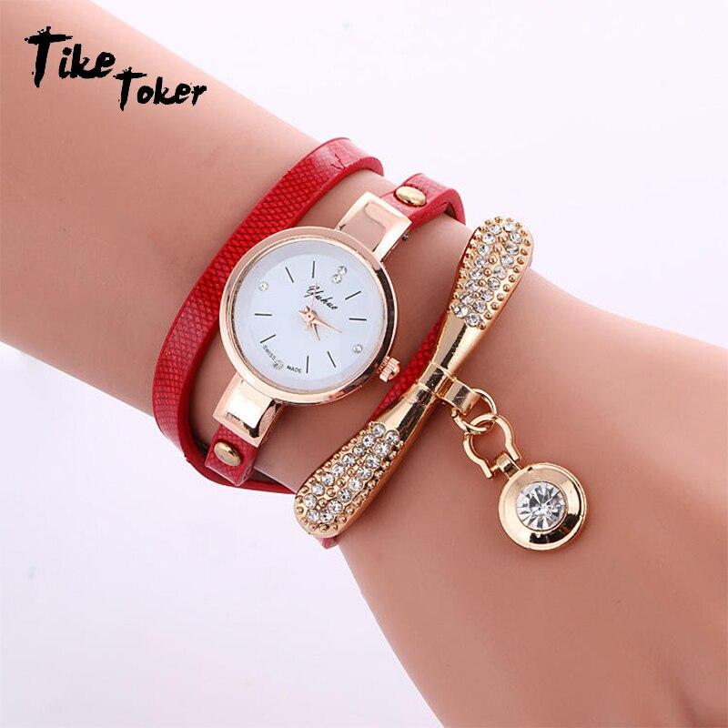 Tike Toker,Women Watches Fashion Casual Bracelet Watch Women Relogio Leather Rhinestone Analog Quartz Watch Clock Female Montre