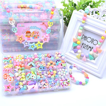Plastic Beads Toys Set DIY Bracelet Kit Accessories Finger Toys Jewelry Making Set Educational Handmade Craft Toy Gifts For Girl недорого
