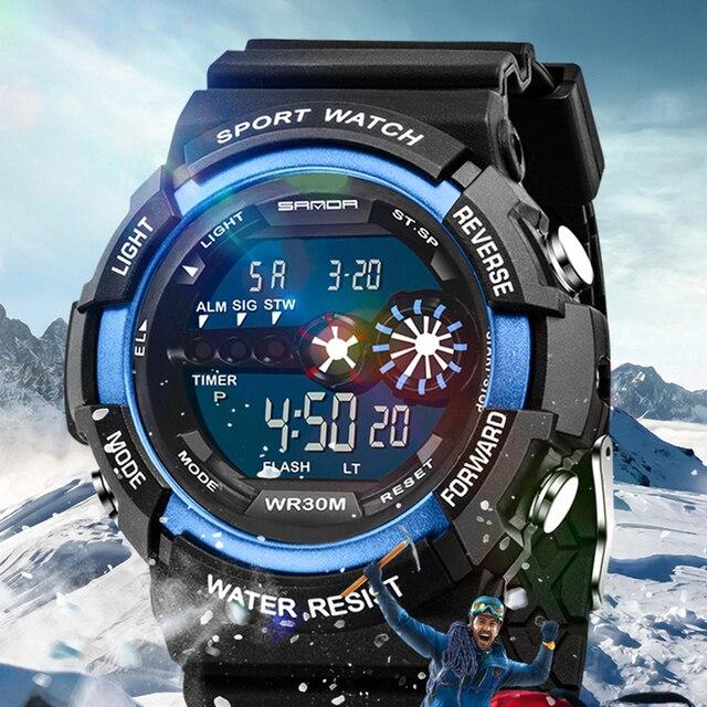 SANDA moda deporte reloj hombres superior de la marca de lujo de famoso de  LED Digital. Sitúa el cursor encima para ... 9ddafe809227