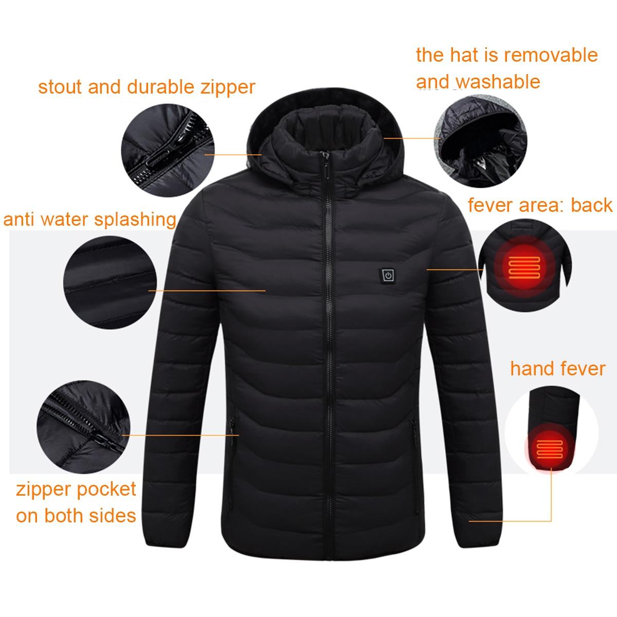 NOVA Mens Inverno Aquecido USB Com Capuz Casacos Jaqueta de Trabalho Vestuário de Segurança de Controle de Temperatura Ajustável