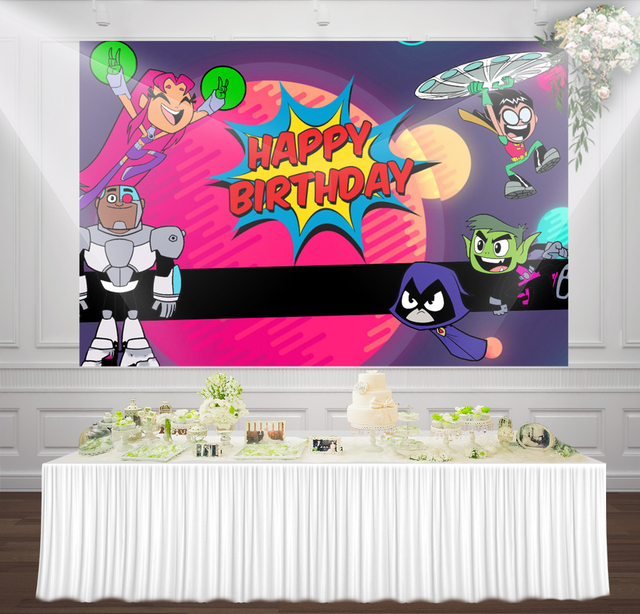 Teen Titans Go Birthday backdrops cartoon Banner Cute kids Photography party background photo booth backdrops wall Decorations