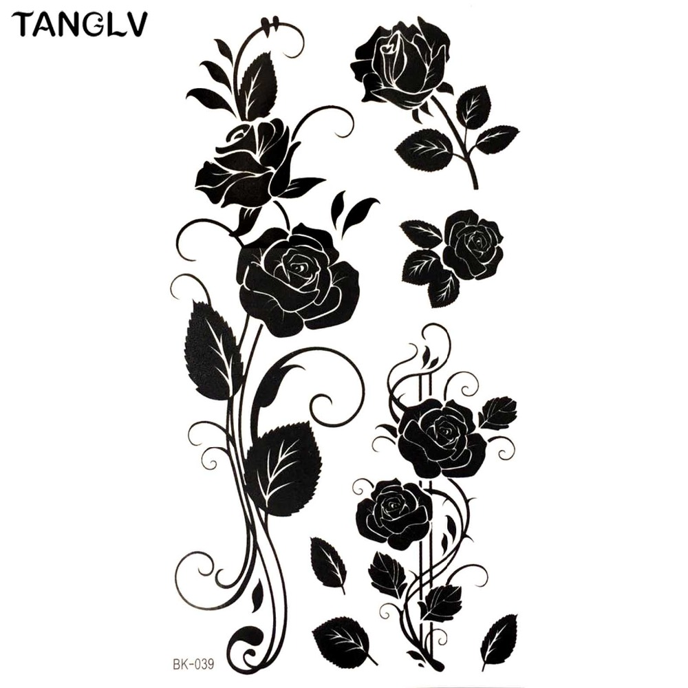 new black rose waterproof temporary tattoos tatuajes temporales Vintage Sleeve Tattoos new black rose waterproof temporary tattoos tatuajes temporales glitter tattoo sleeve tatoo makeup xha tatuagem tatto henna in temporary tattoos from beauty
