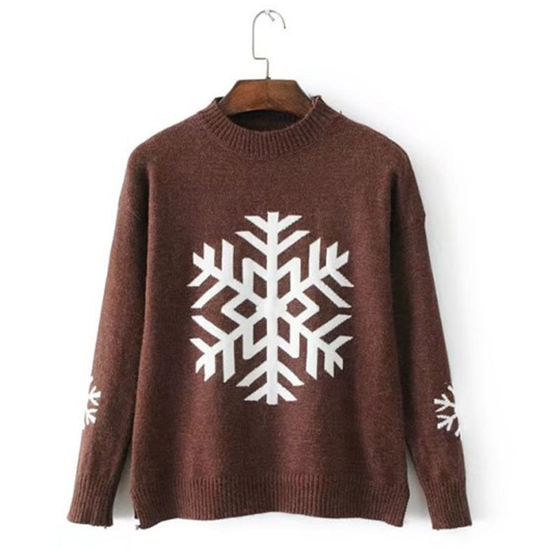 Pull Femme 2017 Autumn O-neck Women Sweaters Pullover Long Sleeved Knitted Snowflake Jacquard Christmas Sweater Women B111