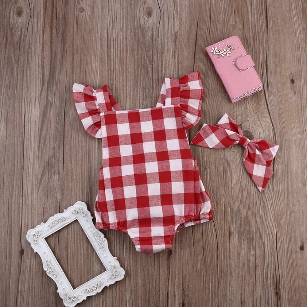 ARLONEET 2019 bebé recién nacido mameluco mono a cuadros rojo conjunto de mono pelele + Niña de 0 a 18 meses ropa de verano 30S0331 \ 6