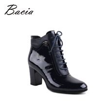 Bacia Ankle Boots High Quality Genuine Leather Shoes Black Handmade Boots With Short Plush Russian Size Autumn Boots 2016 VC012
