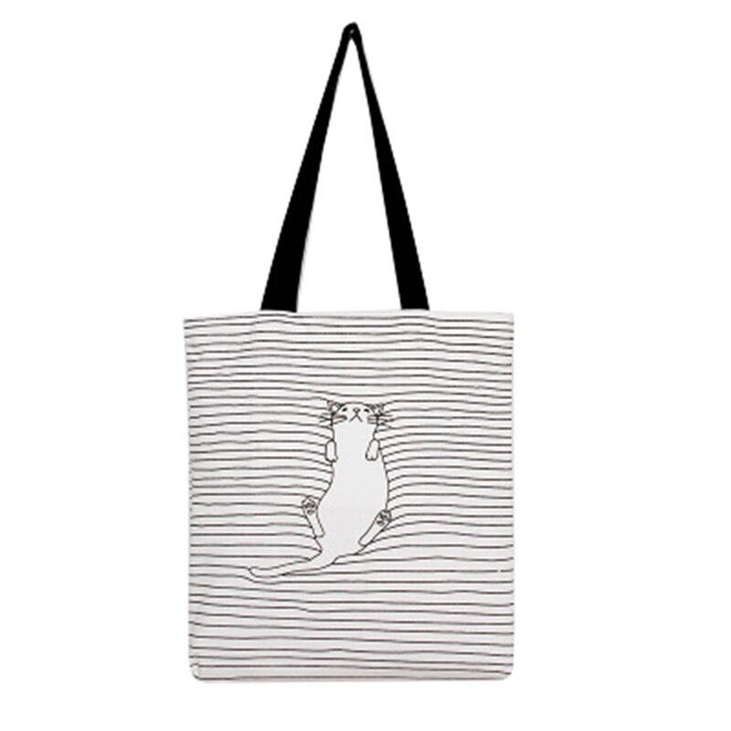 Female Daily Use Single Shoulder Handbag Women`s Casual Tote Female Shopping Bag Cat Printed Ladies Simple Beach Bag