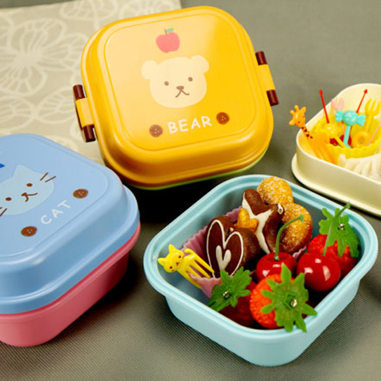 Microwave Plastic Bento Lunch Box For Kids 2 Layer Food Container Lunchi Cute Pail In Storage Boxes Bins From Home Garden