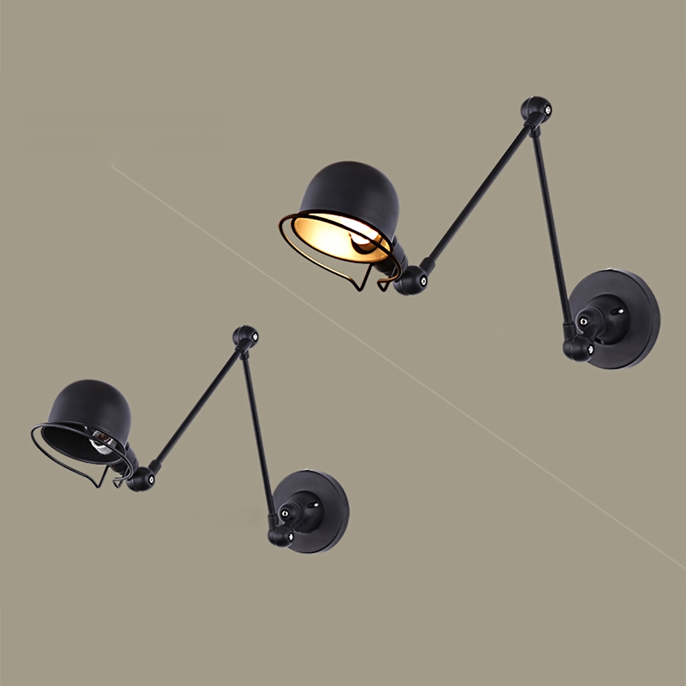 Black/White Lampshade Modern Adjust Angle Arm Metal Wall Lamp Study Room Bedroom Wall Light Sconces Indoor Lighting E14 Fixture 2 colors modern iron wall lamp adjust angle arm bedroom study room work place e14 ac110v 240v wall light sconces fixtures