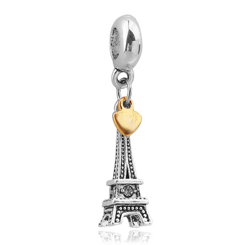 Aliexpress Silver Plated Eiffel Tower Charm Beads Fit Original Pandora Bracelet Authentic Fine DIY Jewelry Free Shipping