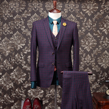 Carjerin 100% Wool Thicken Gentlemen Warm Wedding Suits For Men Brand Clothing Prom Slim Fit Suit Plaid Single Breasted 3XL