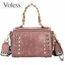 цены VOLESS Women Chain PU Leather Handbags Fashion Patchwork Rivet Letter Female Bag Designer Bags Famous Brand Women Bags 2018 New