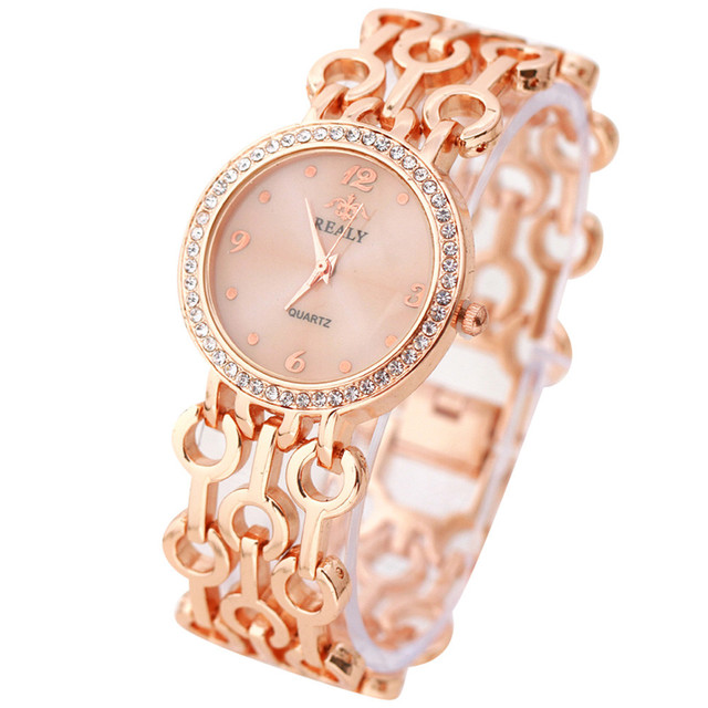 Fashion Women Stainless Steel Chain Strap Bracelet Watches Women Rhinestone Roun